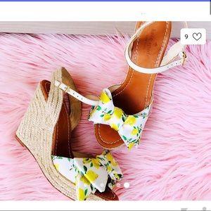 Kate Spade Lemon Bow strap Woven Espadrille Wedges